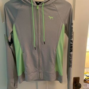 grey and white zippered hoodie